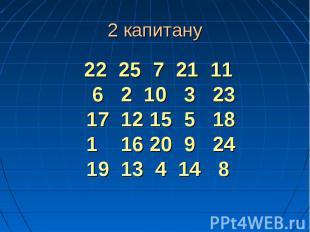22 25 7 21 11 6 2 10 3 23 17 12 15 5 18 1 16 20 9 24 19 13 4 14 8 22 25 7 21 11