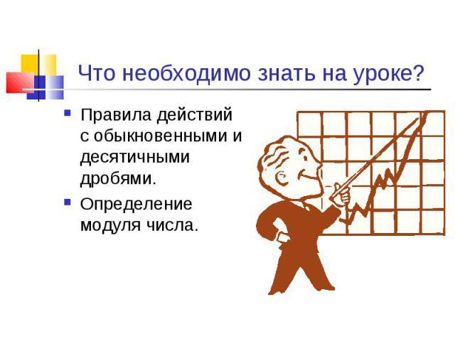 Правила действий с обыкновенными и десятичными дробями. Правила действий с обыкновенными и десятичными дробями. Определение модуля числа.