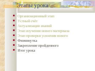 Организационный этап Организационный этап Устный счёт Актуализация знаний Этап и