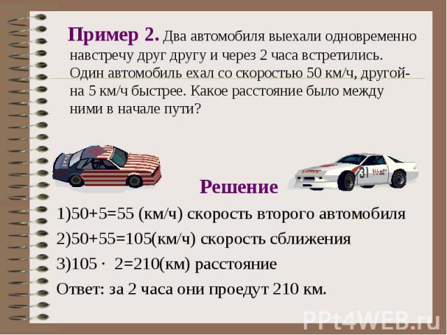 Решение Решение 1)50+5=55 (км/ч) скорость второго автомобиля 2)50+55=105(км/ч) скорость сближения 3)105 · 2=210(км) расстояние Ответ: за 2 часа они проедут 210 км.