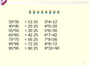 35*35 = 12 25 3*4=12 45*45 = 20 25 4*5=20 55*55 = 30 25 5*6=30 65*65 = 42 25 6*7