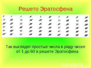 Так выглядят простые числа в ряду чисел от 1 до 60 в решете Эратосфена Так выгля