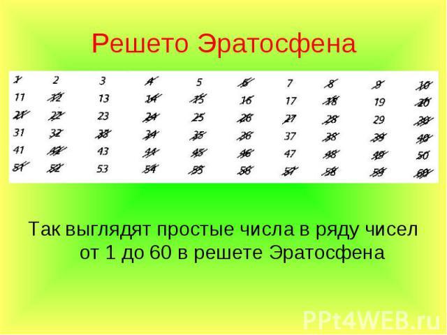 Так выглядят простые числа в ряду чисел от 1 до 60 в решете Эратосфена Так выглядят простые числа в ряду чисел от 1 до 60 в решете Эратосфена