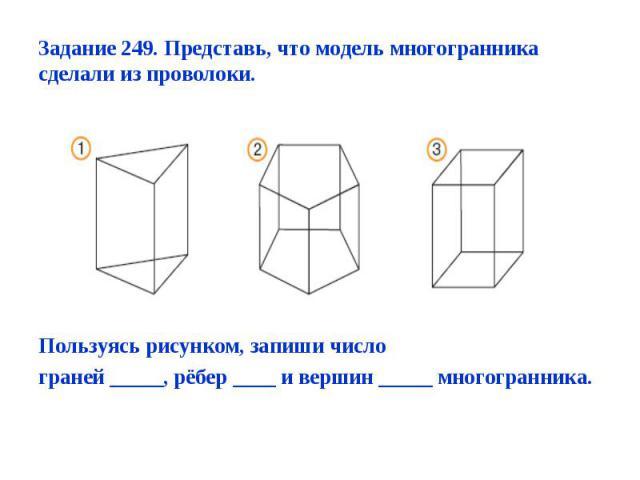 Пользуясь рисунком, запиши число граней _____, рёбер ____ и вершин _____ многогранника.