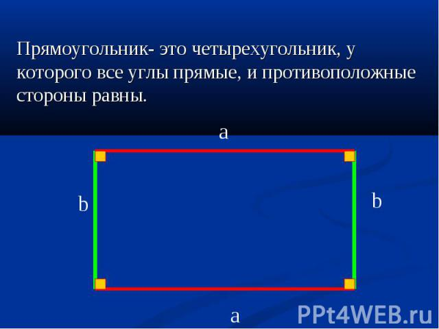 Прямоугольник- это четырехугольник, у которого все углы прямые, и противоположные стороны равны. Прямоугольник- это четырехугольник, у которого все углы прямые, и противоположные стороны равны.