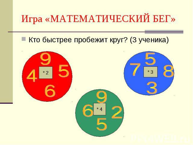 Кто быстрее пробежит круг? (3 ученика) Кто быстрее пробежит круг? (3 ученика)
