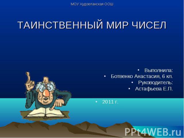 Выполнила: Ботвенко Анастасия, 6 кл. Руководитель: Астафьева Е.П. 2011 г.