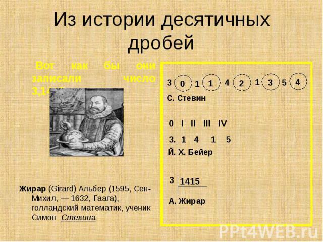 Вот как бы они записали число 3,1415: Вот как бы они записали число 3,1415: Жирар (Girard) Альбер (1595, Сен-Михил, — 1632, Гаага), голландский математик, ученик Симон Стевина.