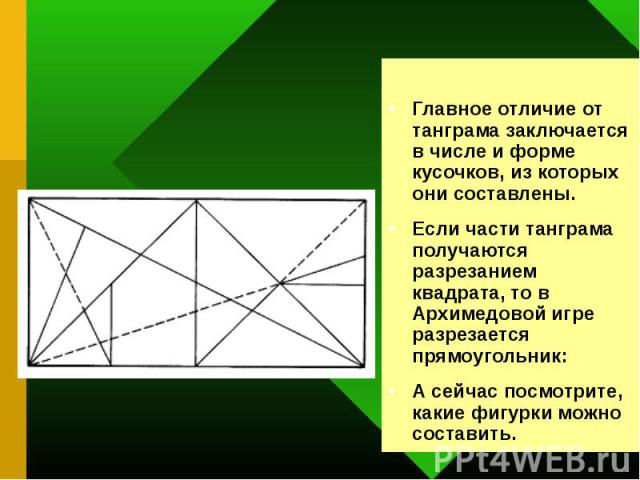 Главное отличие от танграма заключается в числе и форме кусочков, из которых они составлены. Если части танграма получаются разрезанием квадрата, то в Архимедовой игре разрезается прямоугольник: А сейчас посмотрите, какие фигурки можно составить.