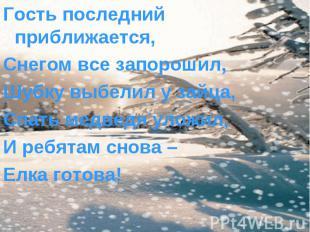 Гость последний приближается, Гость последний приближается, Снегом все запорошил