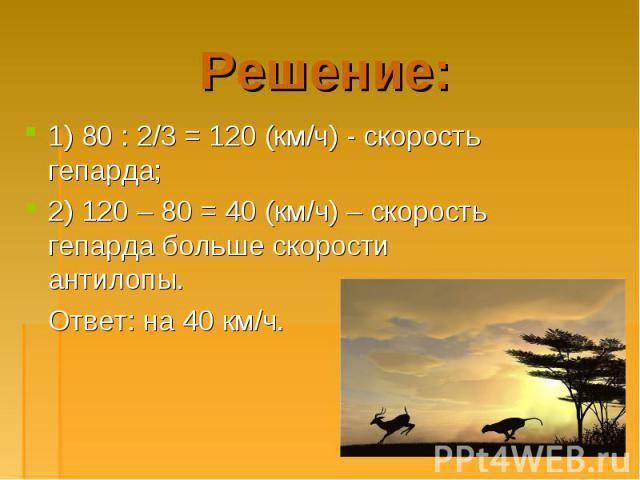 1) 80 : 2/3 = 120 (км/ч) - скорость гепарда; 1) 80 : 2/3 = 120 (км/ч) - скорость гепарда; 2) 120 – 80 = 40 (км/ч) – скорость гепарда больше скорости антилопы. Ответ: на 40 км/ч.