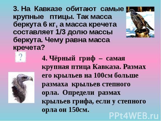 3. На Кавказе обитают самые крупные птицы. Так масса беркута 6 кг, а масса кречета составляет 1/3 долю массы беркута. Чему равна масса кречета? 3. На Кавказе обитают самые крупные птицы. Так масса беркута 6 кг, а масса кречета составляет 1/3 долю ма…