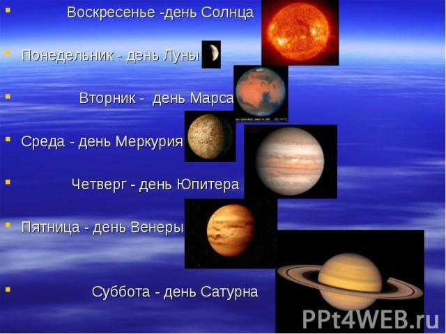 Воскресенье -день Солнца Воскресенье -день Солнца Понедельник - день Луны Вторник - день Марса Среда - день Меркурия Четверг - день Юпитера Пятница - день Венеры Суббота - день Сатурна