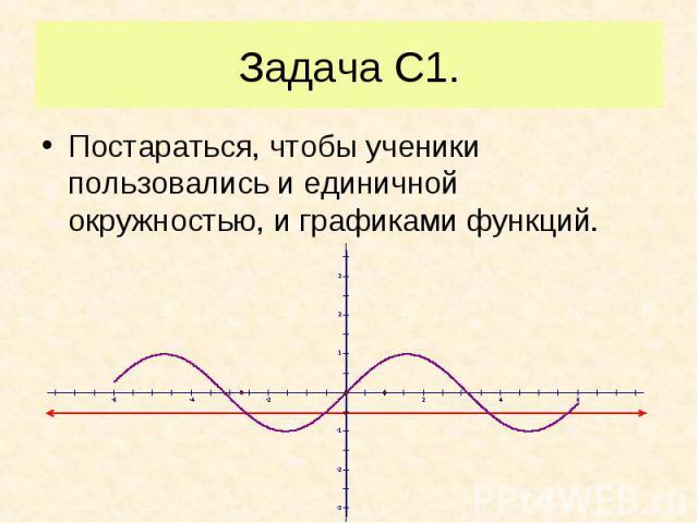 Постараться, чтобы ученики пользовались и единичной окружностью, и графиками функций. Постараться, чтобы ученики пользовались и единичной окружностью, и графиками функций.