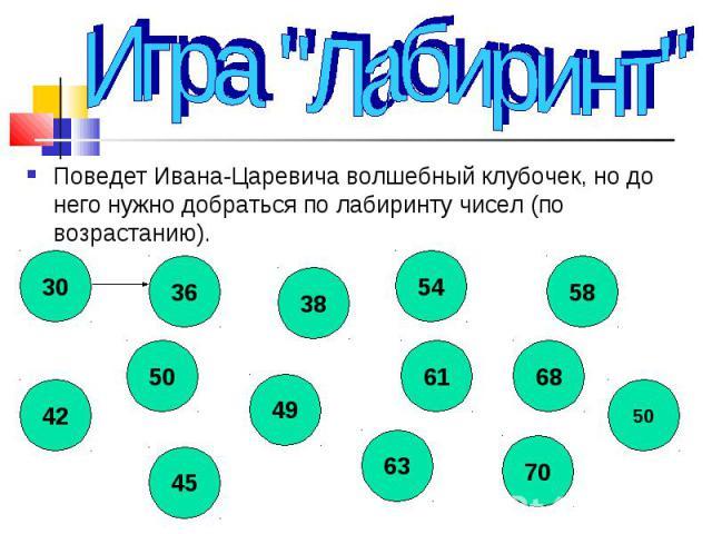 Поведет Ивана-Царевича волшебный клубочек, но до него нужно добраться по лабиринту чисел (по возрастанию). Поведет Ивана-Царевича волшебный клубочек, но до него нужно добраться по лабиринту чисел (по возрастанию).