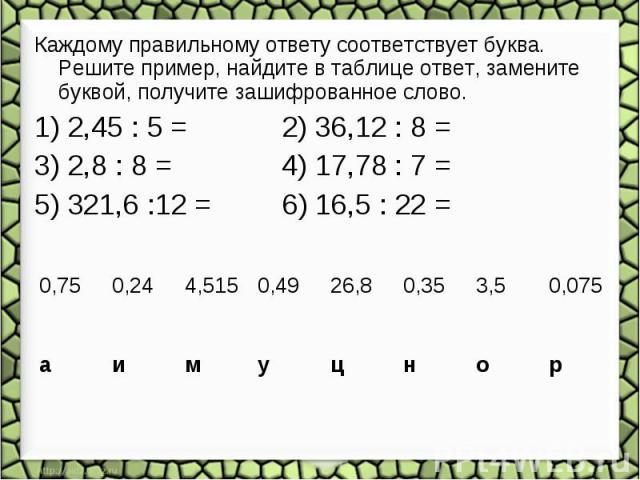Каждому правильному ответу соответствует буква. Решите пример, найдите в таблице ответ, замените буквой, получите зашифрованное слово. 1) 2,45 : 5 = 2) 36,12 : 8 = 3) 2,8 : 8 = 4) 17,78 : 7 = 5) 321,6 :12 = 6) 16,5 : 22 =