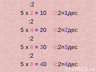 :2 :2 5 х 2 = 10 2:2=1дес :2 5 х 4 = 20 4:2=2дес :2 5 х 6 = 30 6:2=3дес :2 5 х 8