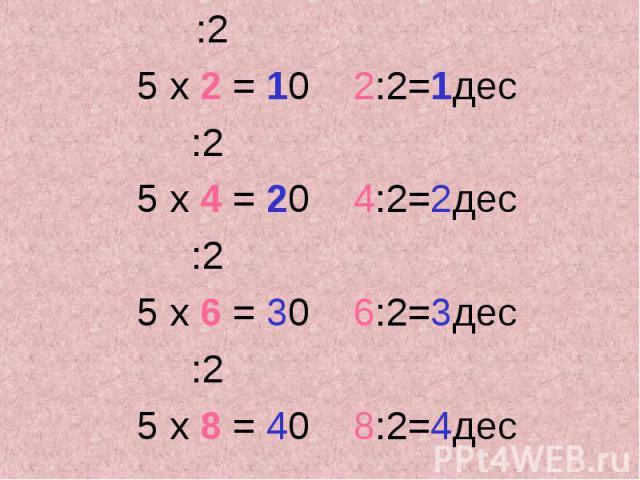 :2 :2 5 х 2 = 10 2:2=1дес :2 5 х 4 = 20 4:2=2дес :2 5 х 6 = 30 6:2=3дес :2 5 х 8 = 40 8:2=4дес