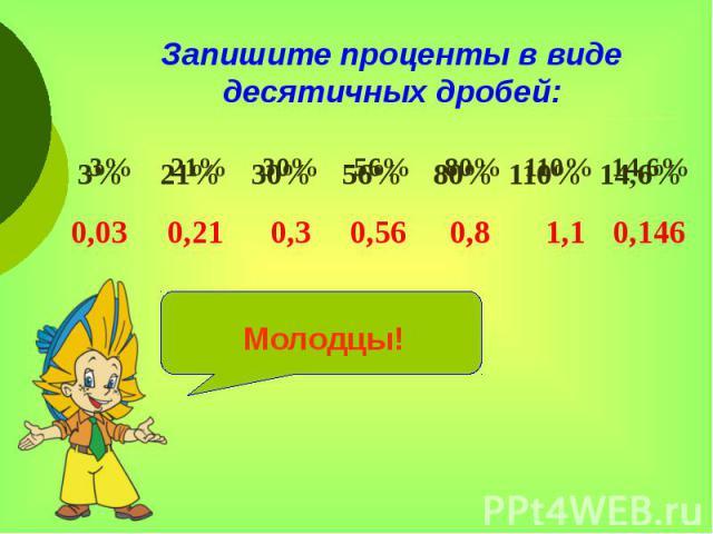 Запишите проценты в виде десятичных дробей: