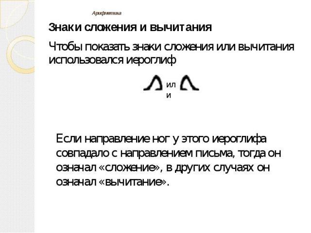 Арифметика Знаки сложения и вычитания Чтобы показать знаки сложения или вычитания использовался иероглиф