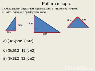 Работа в пара. 1.Обведи катеты красным карандашом, а гипотенузу - синим. 2. Найт
