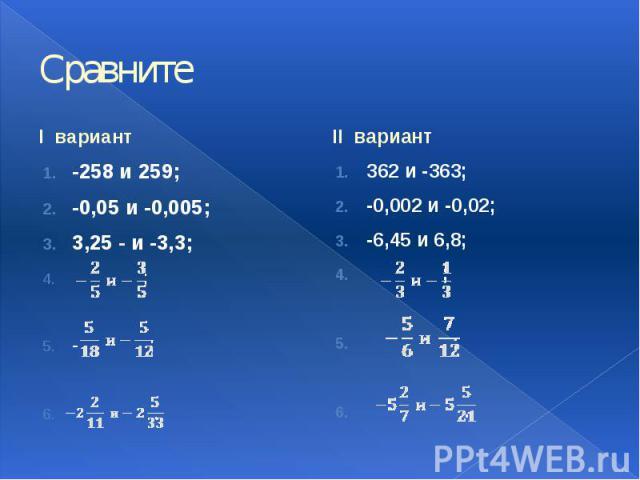 Сравните I вариант -258 и 259; -0,05 и -0,005; 3,25 - и -3,3; ; - ; .
