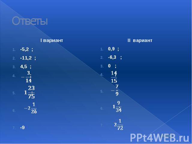 Ответы I вариант -5,2 ; -11,2 ; 4,5 ; ; ; ; -9