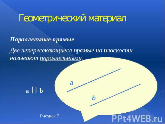 Геометрический материал Параллельные прямые Две непересекающиеся прямые на плоскости называют параллельными. a b