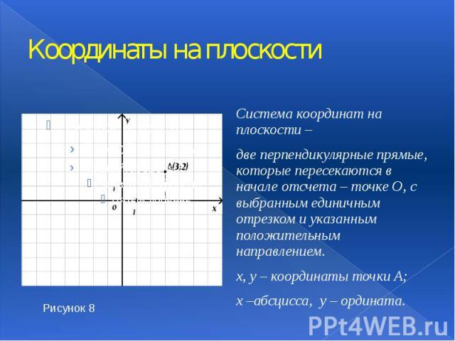 Координаты на плоскости Система координат на плоскости – две перпендикулярные прямые, которые пересекаются в начале отсчета – точке О, с выбранным единичным отрезком и указанным положительным направлением. х, у – координаты точки А; х –абсцисса, у –…