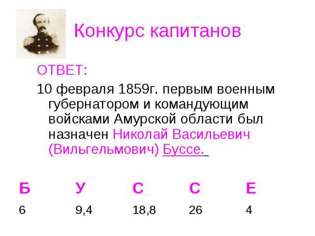ОТВЕТ: ОТВЕТ: 10 февраля 1859г. первым военным губернатором и командующим войсками Амурской области был назначен Николай Васильевич (Вильгельмович) Буссе.