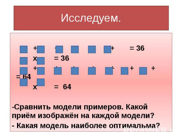 Исследуем. + + + + + = 36 х = 36 + + + + + + + = 64 х = 64 Сравнить модели примеров. Какой приём изображён на каждой модели? - Какая модель наиболее оптимальма?