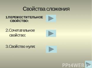 Свойства сложения 1.ПЕРЕМЕСТИТЕЛЬНОЕ СВОЙСТВО: 2.Сочетательное свойство: 3.Свойс