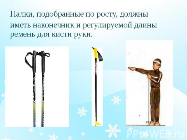 Палки, подобранные по росту, должны Палки, подобранные по росту, должны иметь наконечник и регулируемой длины ремень для кисти руки.