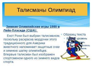 Талисманы Олимпиад Зимние Олимпийские игры 1980 в Лейк-Плэсиде (США): Енот Рони
