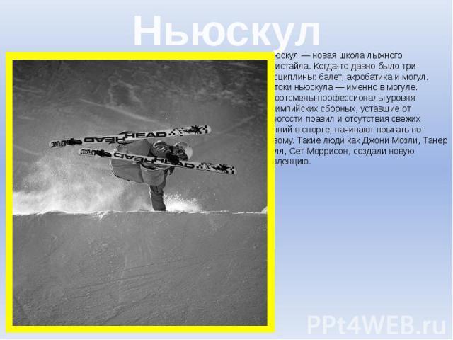Ньюскул Ньюскул— новая школа лыжного фристайла. Когда-то давно было три дисциплины: балет, акробатика и могул. Истоки ньюскула— именно в могуле. Спортсмены-профессионалы уровня Олимпийских сборных, уставшие от строгости правил и отсутств…