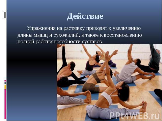 Действие Упражнения на растяжку приводят к увеличению длины мышц и сухожилий, а также к восстановлению полной работоспособности суставов.