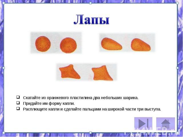 Скатайте из оранжевого пластилина два небольших шарика. Скатайте из оранжевого пластилина два небольших шарика. Придайте им форму капли. Расплющите капли и сделайте пальцами на широкой части три выступа.