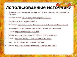 Использованные источники Конышева Н.М. Технология. Учебник для 1 класса, Смоленс
