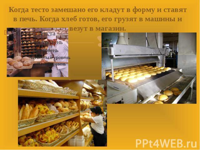 Когда тесто замешано его кладут в форму и ставят в печь. Когда хлеб готов, его грузят в машины и везут в магазин.