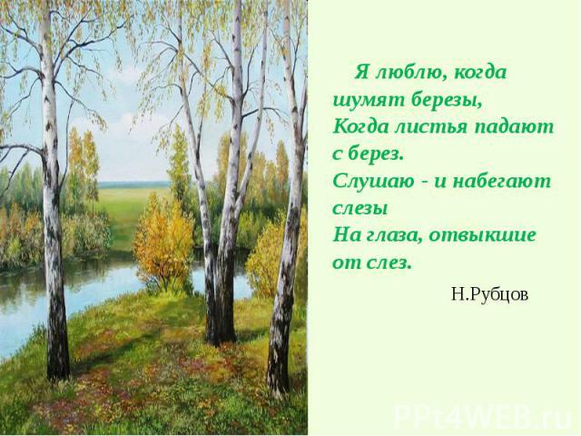 Я люблю, когда шумят березы, Когда листья падают с берез. Слушаю - и набегают слезы На глаза, отвыкшие от слез. Я люблю, когда шумят березы, Когда листья падают с берез. Слушаю - и набегают слезы На глаза, отвыкшие от слез. Н.Рубцов