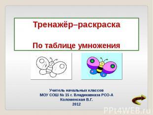 Учитель начальных классов МОУ СОШ № 15 г. Владикавказа РСО-А Коломенская В.Г. 20