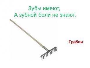 Зубы имеют, А зубной боли не знают. Грабли