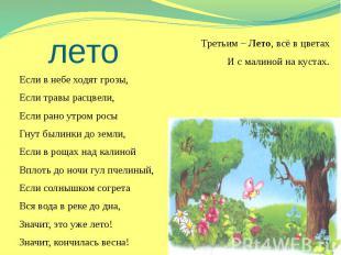 лето Третьим – Лето, всё в цветах И с малиной на кустах. Если в небе ходят грозы