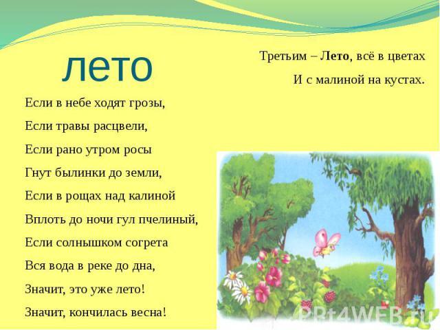 лето Третьим – Лето, всё в цветах И с малиной на кустах. Если в небе ходят грозы, Если травы расцвели, Если рано утром росы Гнут былинки до земли, Если в рощах над калиной Вплоть до ночи гул пчелиный, Если солнышком согрета Вся вода в реке до дна, З…