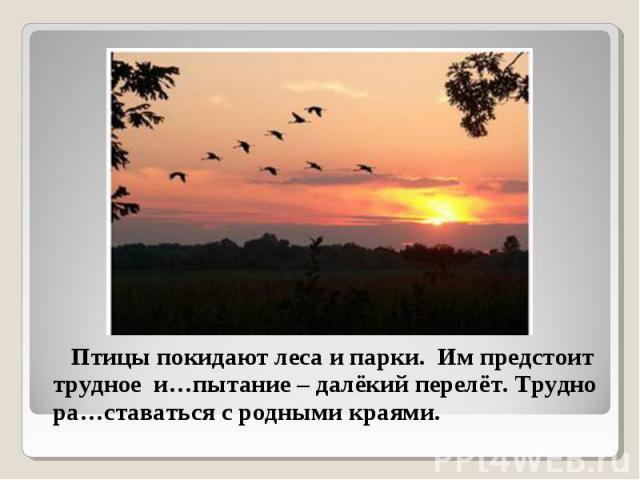 Птицы покидают леса и парки. Им предстоит трудное и…пытание – далёкий перелёт. Трудно ра…ставаться с родными краями. Птицы покидают леса и парки. Им предстоит трудное и…пытание – далёкий перелёт. Трудно ра…ставаться с родными краями.