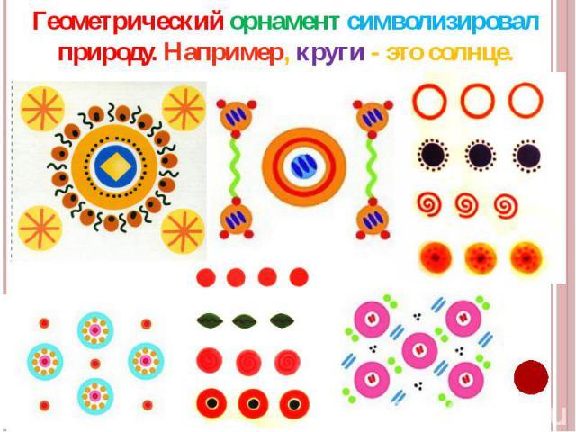 Геометрический орнамент символизировал природу. Например, круги - это солнце.