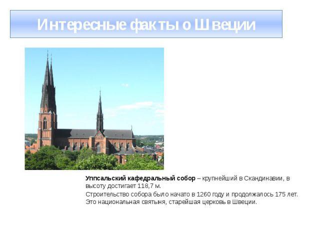 Интересные факты о Швеции Уппсальский кафедральный собор – крупнейший в Скандинавии, в высоту достигает 118,7 м. Строительство собора было начато в 1260 году и продолжалось 175 лет. Это национальная святыня, старейшая церковь в Швеции.