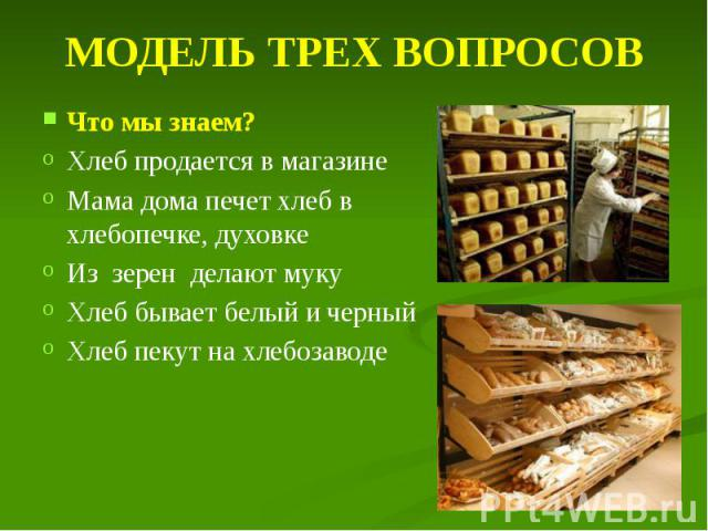 МОДЕЛЬ ТРЕХ ВОПРОСОВ Что мы знаем? Хлеб продается в магазине Мама дома печет хлеб в хлебопечке, духовке Из зерен делают муку Хлеб бывает белый и черный Хлеб пекут на хлебозаводе
