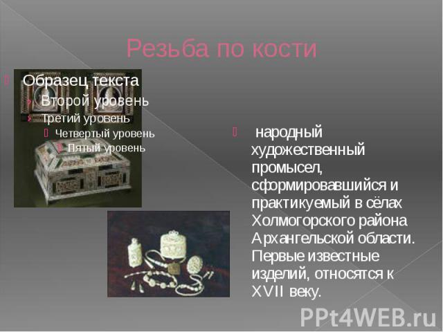 Резьба по кости народный художественный промысел, сформировавшийся и практикуемый в сёлах Холмогорского района Архангельской области. Первые известные изделий, относятся к XVII веку.