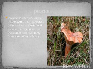рыжик Королевским гриб зовут,- Рыженький, с кружочками. Вкусный он и ароматный.